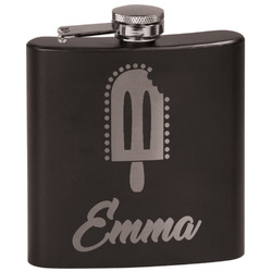 Popsicles and Polka Dots Black Flask (Personalized)