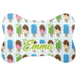 Popsicles and Polka Dots Bone Shaped Dog Food Mat (Personalized)