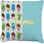 Popsicles and Polka Dots Faux-Linen Throw Pillow (Personalized)