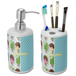 Popsicles and Polka Dots Ceramic Bathroom Accessories Set (Personalized)