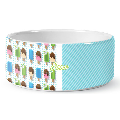 Popsicles and Polka Dots Ceramic Dog Bowl (Personalized)