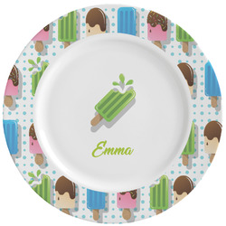 Popsicles and Polka Dots Ceramic Dinner Plates (Set of 4) (Personalized)