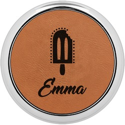 Popsicles and Polka Dots Leatherette Round Coaster w/ Silver Edge - Single or Set (Personalized)