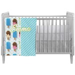 Popsicles and Polka Dots Crib Comforter / Quilt (Personalized)