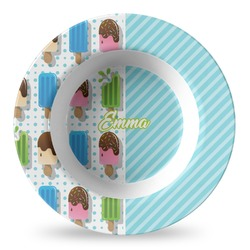 Popsicles and Polka Dots Plastic Bowl - Microwave Safe - Composite Polymer (Personalized)