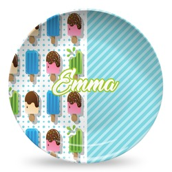 Popsicles and Polka Dots Microwave Safe Plastic Plate - Composite Polymer (Personalized)