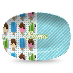 Popsicles and Polka Dots Plastic Platter - Microwave & Oven Safe Composite Polymer (Personalized)