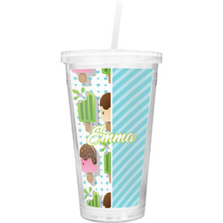 Popsicles and Polka Dots Double Wall Tumbler with Straw (Personalized)