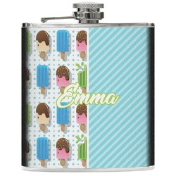 Popsicles and Polka Dots Genuine Leather Flask (Personalized)