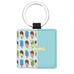 Popsicles and Polka Dots Genuine Leather Rectangular Keychain (Personalized)