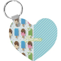 Popsicles and Polka Dots Heart Keychain (Personalized)
