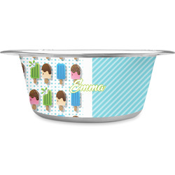 Popsicles and Polka Dots Stainless Steel Pet Bowl (Personalized)