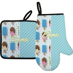 Popsicles and Polka Dots Oven Mitt & Pot Holder (Personalized)