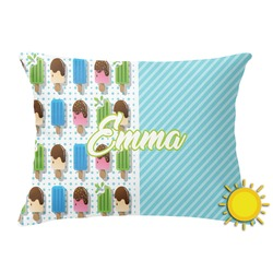 Popsicles and Polka Dots Outdoor Throw Pillow (Rectangular) (Personalized)