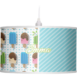 Popsicles and Polka Dots Drum Pendant Lamp Linen (Personalized)