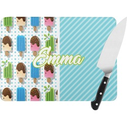 Popsicles and Polka Dots Rectangular Glass Cutting Board (Personalized)
