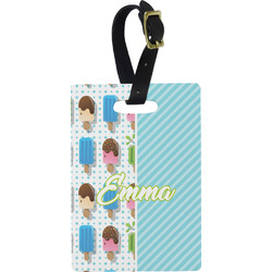 Popsicles and Polka Dots Rectangular Luggage Tag (Personalized)