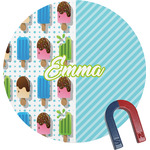 Popsicles and Polka Dots Round Fridge Magnet (Personalized)