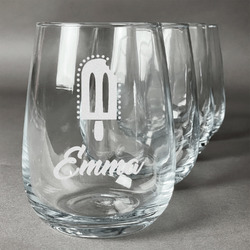 Popsicles and Polka Dots Wine Glasses (Stemless- Set of 4) (Personalized)