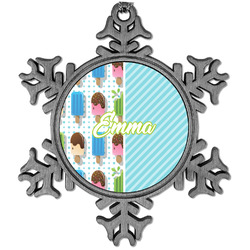 Popsicles and Polka Dots Vintage Snowflake Ornament (Personalized)