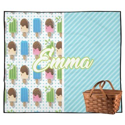 Popsicles and Polka Dots Outdoor Picnic Blanket (Personalized)