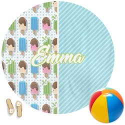 Popsicles and Polka Dots Round Beach Towel (Personalized)