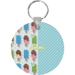 Popsicles and Polka Dots Round Keychain (Personalized)