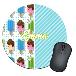 Popsicles and Polka Dots Round Mouse Pad (Personalized)