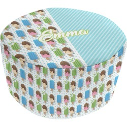 Popsicles and Polka Dots Round Pouf Ottoman (Personalized)