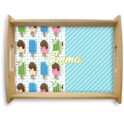 Popsicles and Polka Dots Natural Wooden Tray - Large (Personalized)