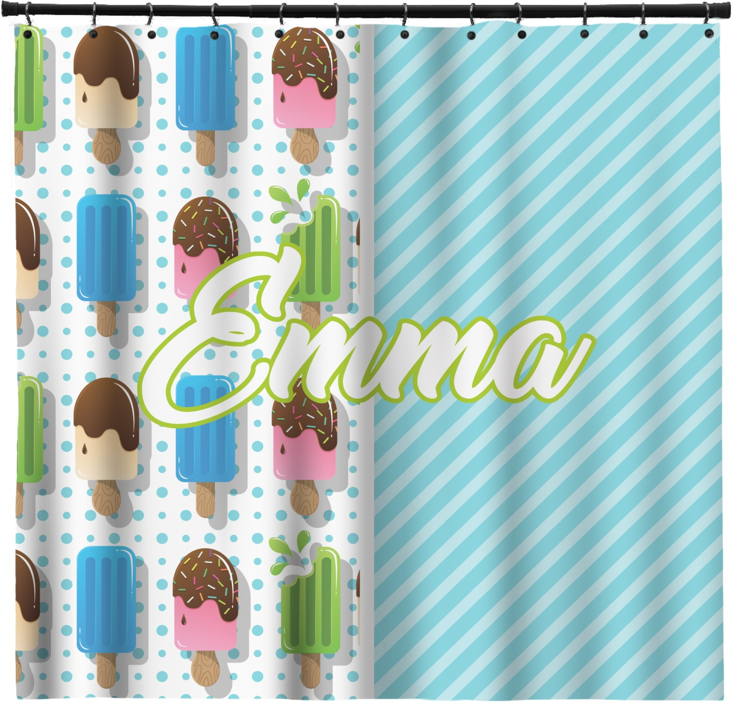 Popsicles And Polka Dots Shower Curtain Custom Width Height Personalized Youcustomizeit