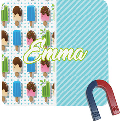 Popsicles and Polka Dots Square Fridge Magnet (Personalized)