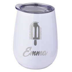 Popsicles and Polka Dots Stemless Wine Tumbler - 5 Color Choices - Stainless Steel  (Personalized)