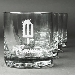 Popsicles and Polka Dots Whiskey Glasses (Set of 4) (Personalized)