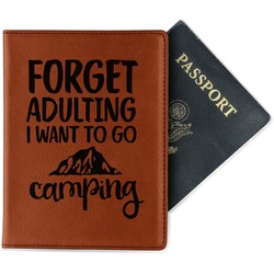 Camping Quotes & Sayings (Shape) Leatherette Passport Holder (Personalized)