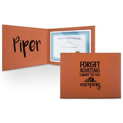 Camping Quotes & Sayings (Shape) Leatherette Certificate Holder (Personalized)