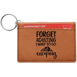 Camping Quotes & Sayings (Shape) Leatherette Keychain ID Holder (Personalized)