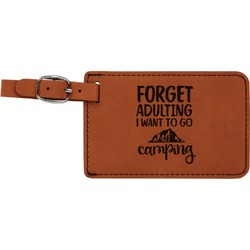 Camping Quotes & Sayings (Shape) Leatherette Luggage Tag (Personalized)
