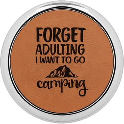 Camping Quotes & Sayings (Shape) Leatherette Round Coaster w/ Silver Edge - Single or Set (Personalized)