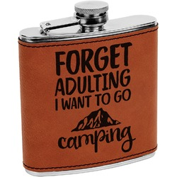 Camping Quotes & Sayings (Shape) Leatherette Wrapped Stainless Steel Flask (Personalized)