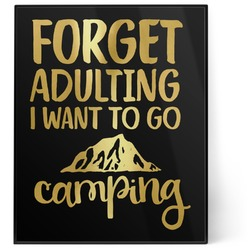 Camping Quotes & Sayings (Shape) 8x10 Foil Wall Art - Black (Personalized)