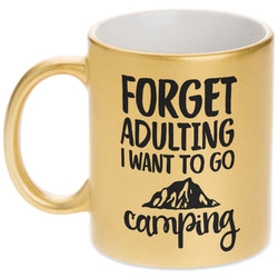 Camping Quotes & Sayings (Shape) Gold Mug (Personalized)