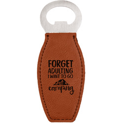 Camping Quotes & Sayings (Shape) Leatherette Bottle Opener (Personalized)