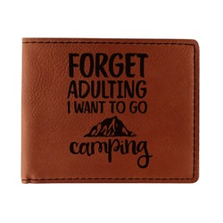Camping Quotes & Sayings (Shape) Leatherette Bifold Wallet (Personalized)