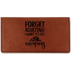 Camping Quotes & Sayings (Shape) Leatherette Checkbook Holder (Personalized)