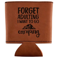 Camping Quotes & Sayings (Shape) Leatherette Can Sleeve (Personalized)