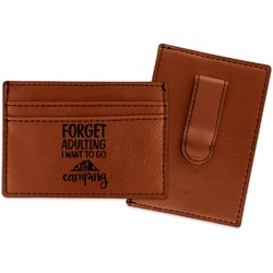 Camping Quotes & Sayings (Shape) Leatherette Wallet with Money Clip (Personalized)