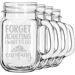 Camping Quotes & Sayings (Shape) Mason Jar Mugs (Set of 4) (Personalized)