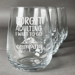 Camping Quotes & Sayings (Shape) Wine Glasses (Stemless- Set of 4) (Personalized)