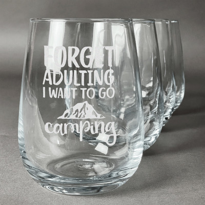 Camping Quotes & Sayings (Shape) Stemless Wine Glasses (Set of 4) (Personalized)